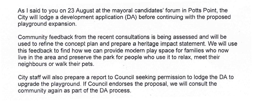 Clover Moore letter promises DA for Fitzroy Playground redevelopment (image)