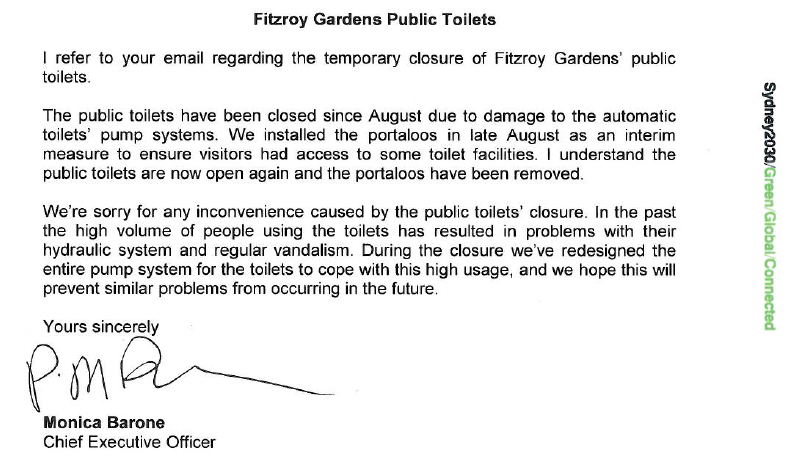 Sydney Council reply re broken toilets, Oct 2013 (image)