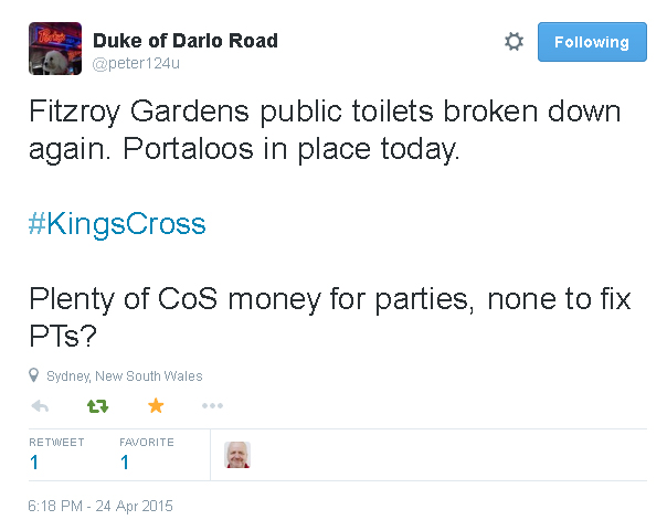 Tweet re Fitzroy Gardens toilets broken - 24 April 2015