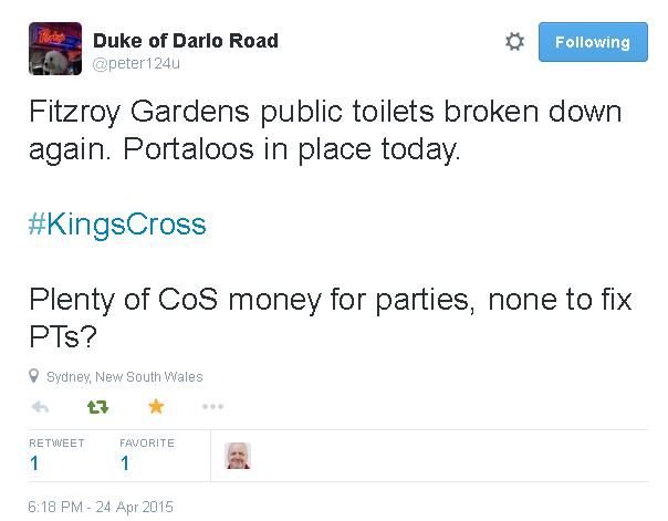 Tweet re Fitzroy Gardens toilets broken - 24 April 2015