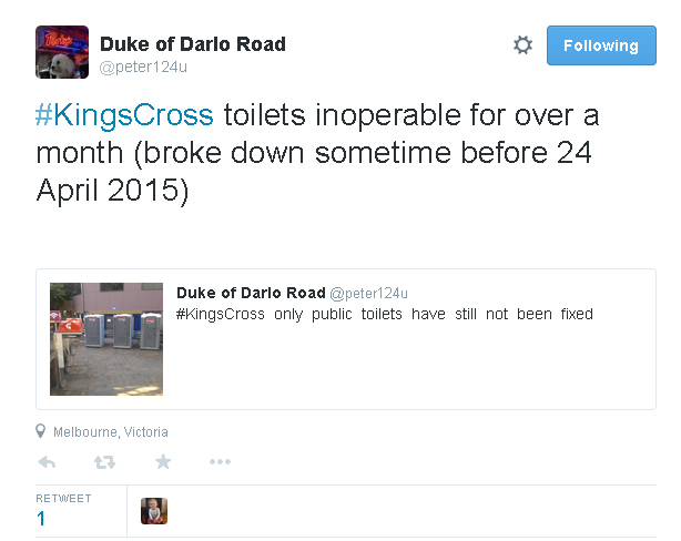 Tweet re toilets still broken in Fitzroy Gardens - 26 May 2105 (image)