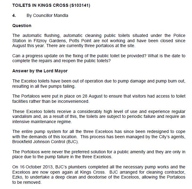 Clover Moore reply re broken toilets, Oct 2013 (image)