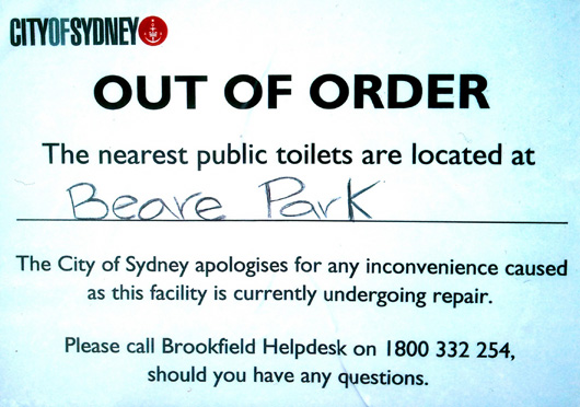 Fitzroy Gardens toilet out of order sign (image)