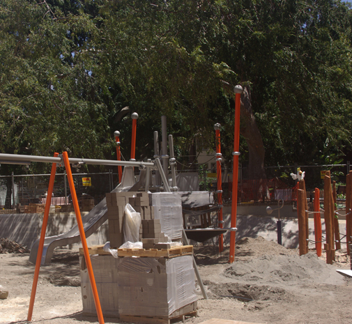 Gawdy orange poles in new Fitzroy Gardens playground (image)