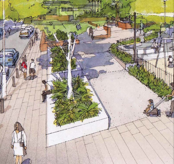 White colours and hard edges in revised Fitzroy Playground design (image)